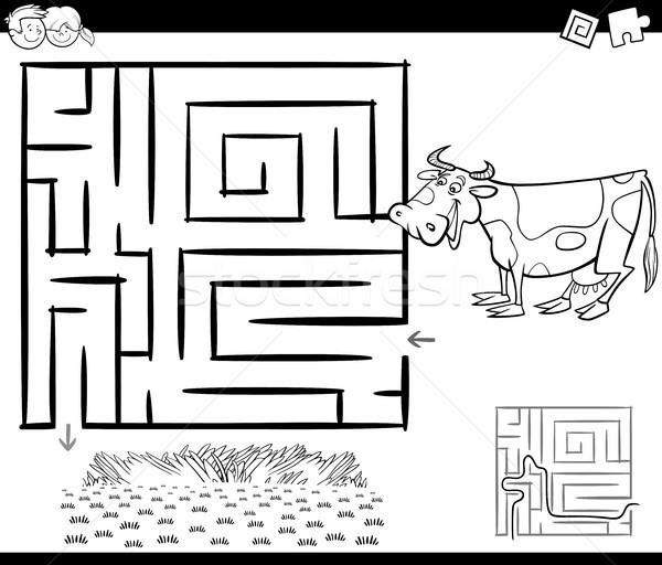 лабиринт корова черно белые Cartoon иллюстрация образование Сток-фото © izakowski