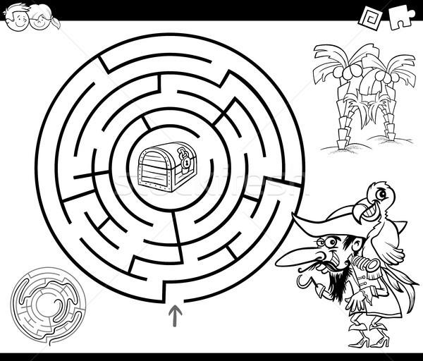 Labirinto pirata pagina bianco nero cartoon illustrazione Foto d'archivio © izakowski