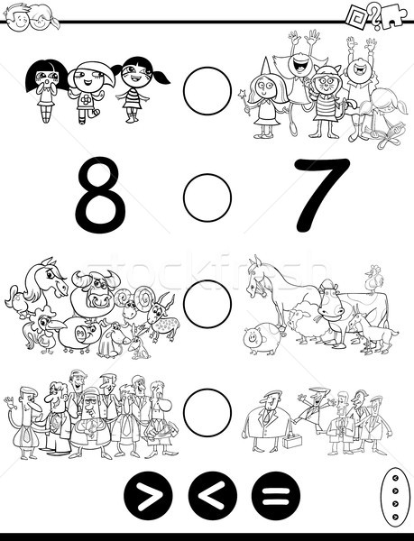 greater less or equal game coloring page Stock photo © izakowski