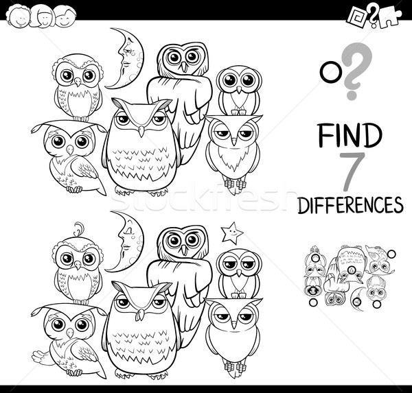 spot the difference with owls coloring book Stock photo © izakowski