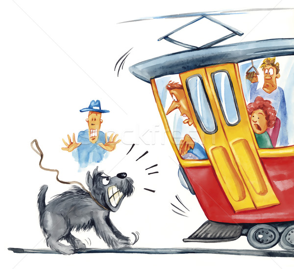 dog attacking the tram Stock photo © izakowski