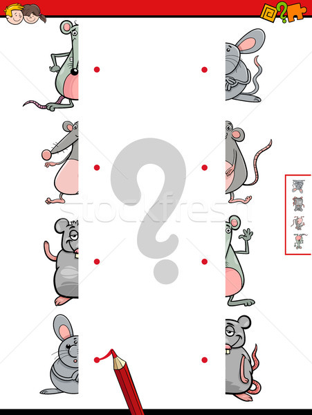 match halves of mice cartoon game Stock photo © izakowski