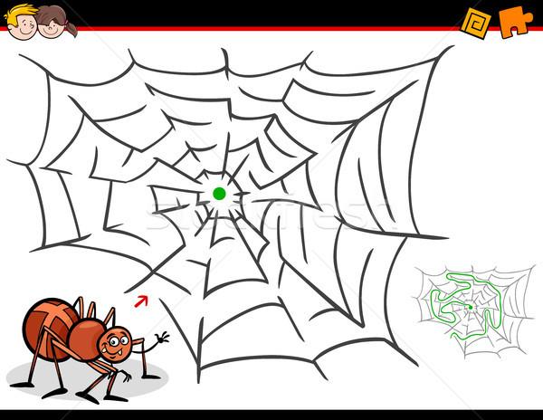 Cartoon doolhof activiteit spinnenweb illustratie onderwijs Stockfoto © izakowski