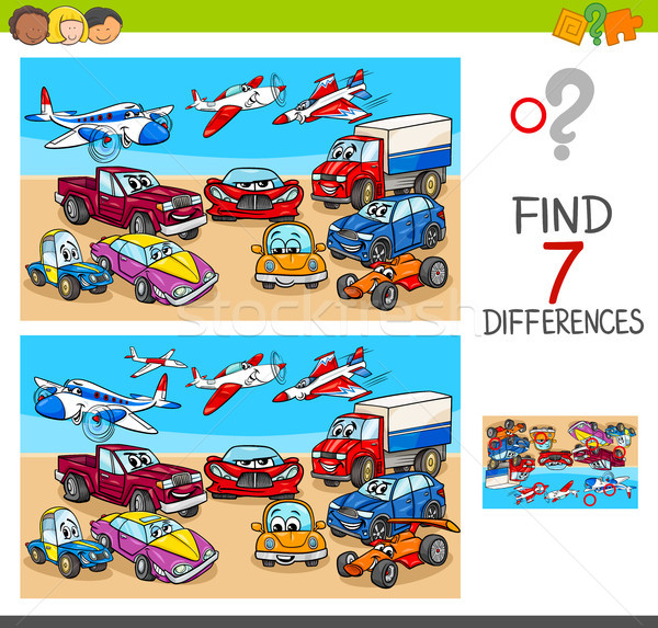 find differences game with transport vehicles Stock photo © izakowski