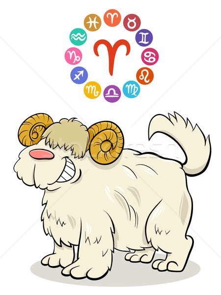 Aries Zodiac sign with cartoon dog Stock photo © izakowski