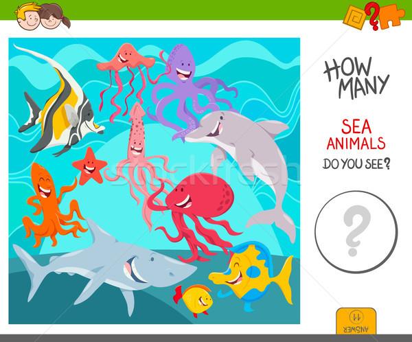 count the sea animals activity game Stock photo © izakowski