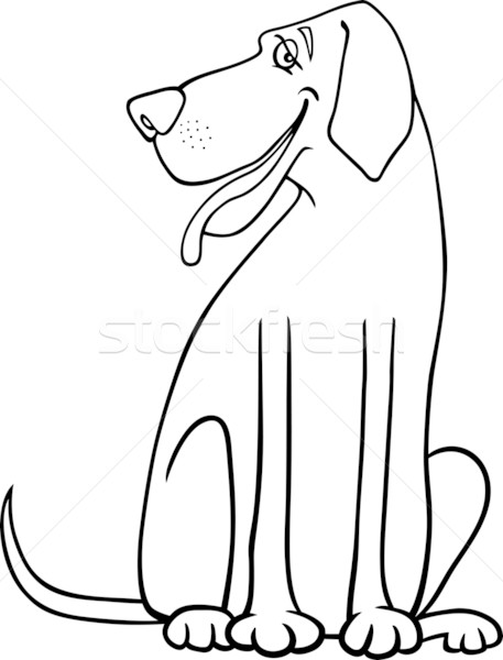 great dane dog cartoon for coloring Stock photo © izakowski