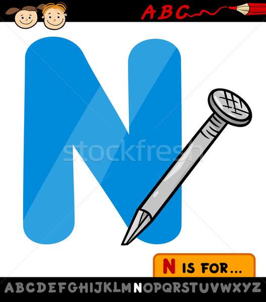 letter n with nail cartoon illustration Stock photo © izakowski
