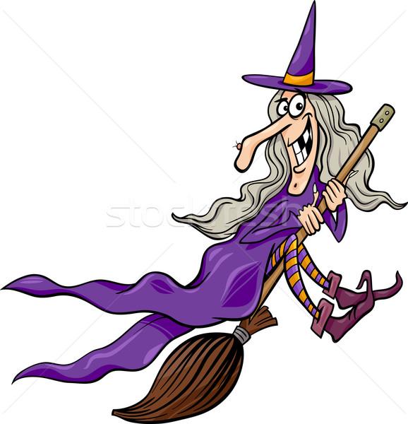 Stock fotó: Boszorkány · seprű · rajz · illusztráció · vicces · fantázia