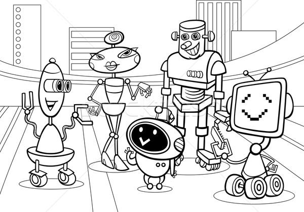 Stok fotoğraf: Robotlar · grup · karikatür · sayfa · siyah · beyaz · örnek
