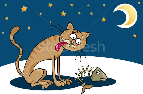 бездомным кошки Cartoon голодный луна ночь Сток-фото © izakowski