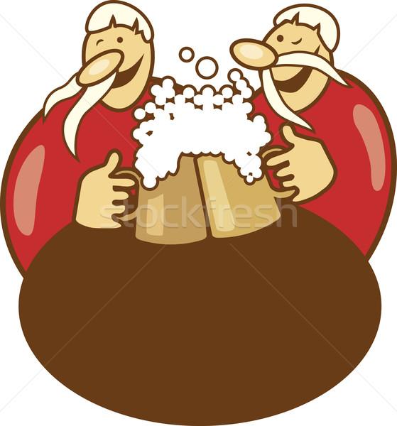 Pub logo chicos potable cerveza ilustración Foto stock © izakowski