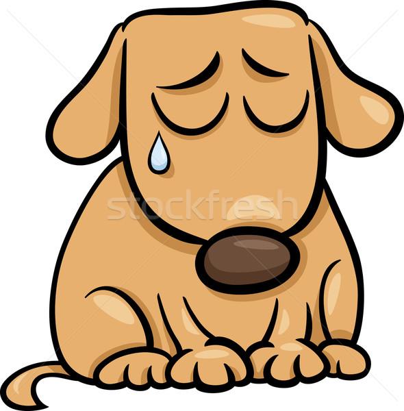 sad dog cartoon illustration Stock photo © izakowski