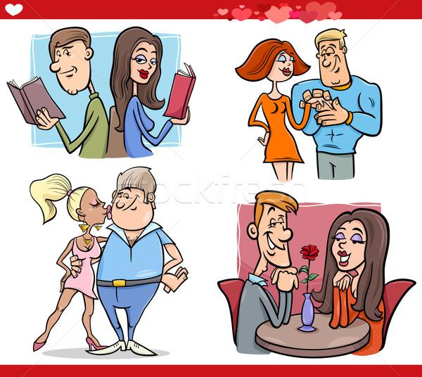 valentine couples in love cartoon set Stock photo © izakowski
