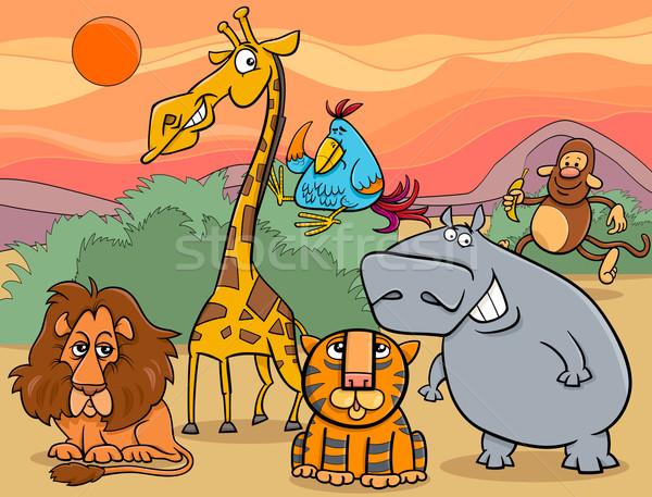 野生動物 グループ 漫画 実例 シーン ストックフォト © izakowski