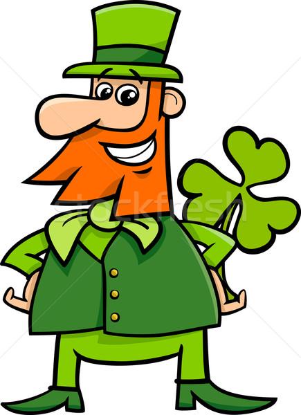 leprechaun and clover cartoon Stock photo © izakowski