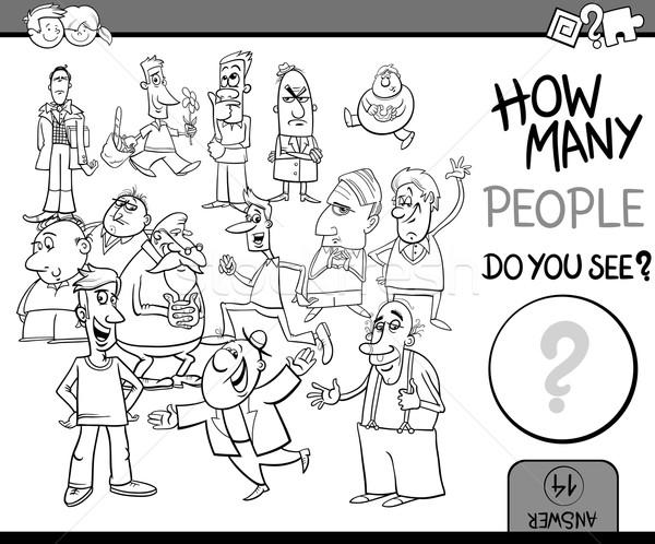 Insanlar görev boyama kitabı siyah beyaz karikatür örnek Stok fotoğraf © izakowski