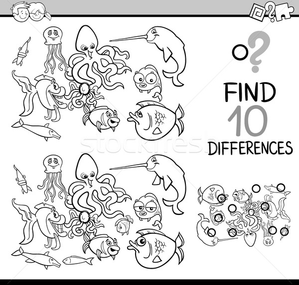 Diferenças tarefa página preto e branco desenho animado ilustração Foto stock © izakowski