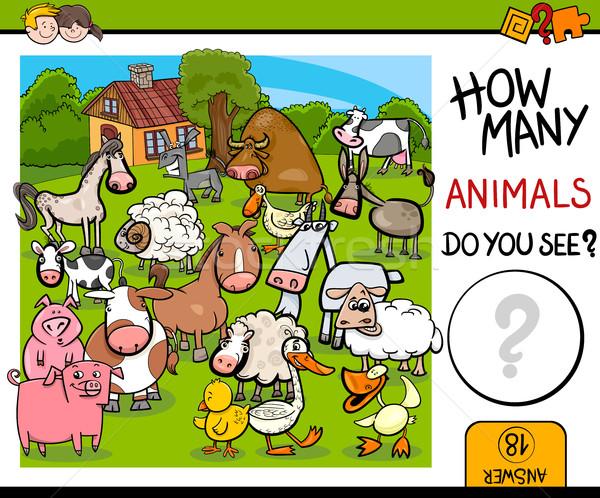 counting farm animals activity Stock photo © izakowski