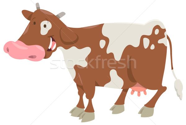 Tehén haszonállat rajz illusztráció vicces karakter Stock fotó © izakowski