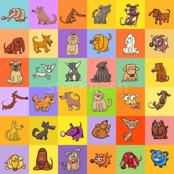cartoon dogs background design Stock photo © izakowski