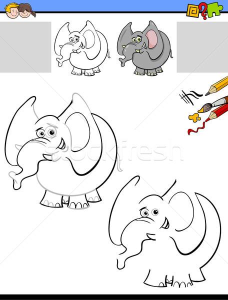drawing and coloring worksheet with elephant Stock photo © izakowski