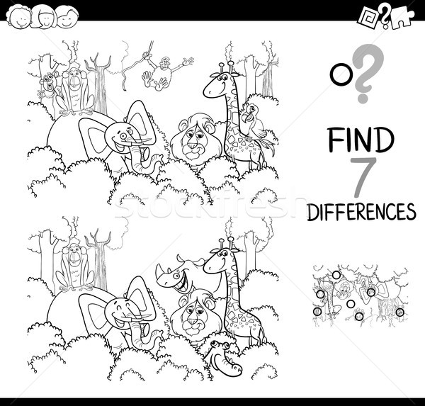 Bulmak Fark Hayvanlar Boyama Kitabı Siyah Beyaz