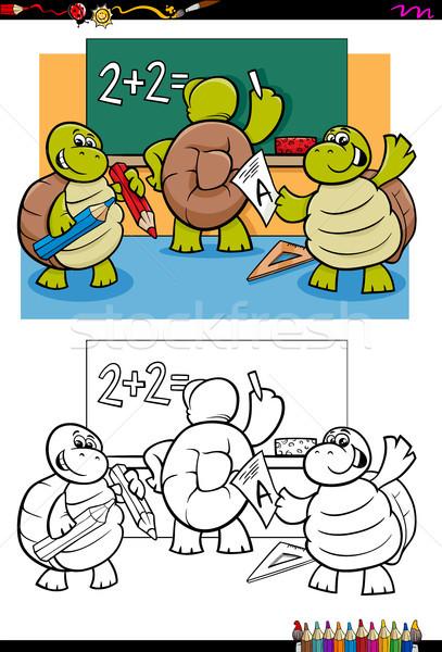 turtles pupil characters coloring book Stock photo © izakowski
