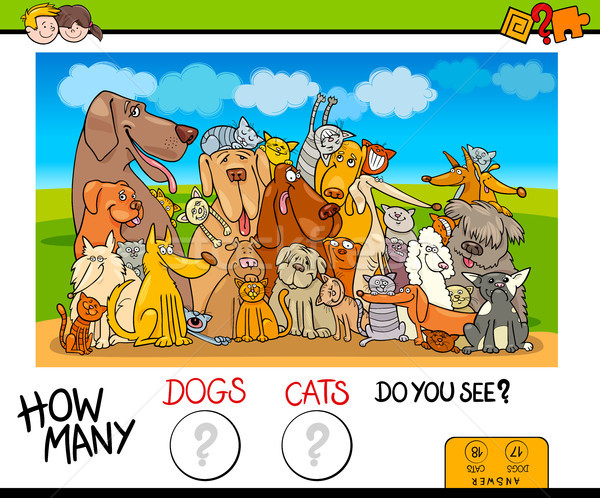 how many dogs and cats counting game Stock photo © izakowski
