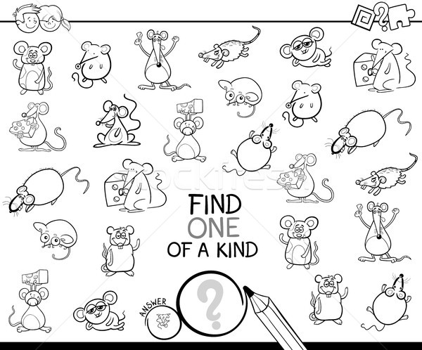 one of a kind game with mice color book Stock photo © izakowski