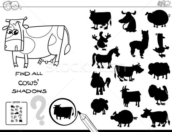 shadow game with cows color book Stock photo © izakowski