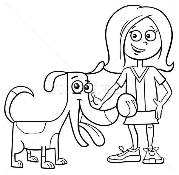 çocuk Kız Komik Köpek Karikatür Boyama Kitabı