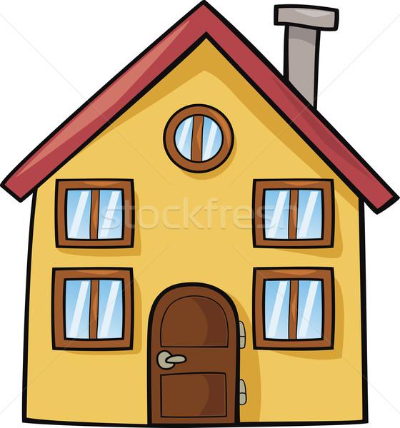 cartoon huis grappig familie kinderen gelukkig vector illustratie igor zakowski. Black Bedroom Furniture Sets. Home Design Ideas