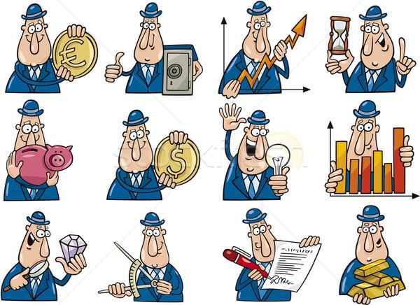 Funny biznesmenów zestaw cartoon ilustracja kolekcja Zdjęcia stock © izakowski
