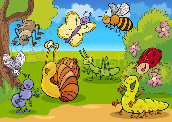 cartoon insects on the meadow Stock photo © izakowski