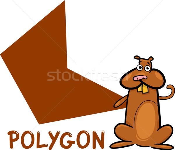 Poligon forma rajz kaméleon illusztráció alapvető Stock fotó © izakowski