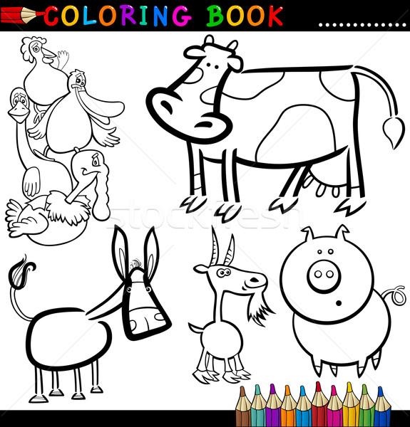 Animali della fattoria libro da colorare pagina cartoon illustrazione divertente Foto d'archivio © izakowski