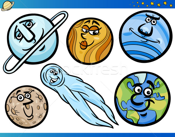 ストックフォト: 惑星 · 漫画 · セット · 実例 · 面白い