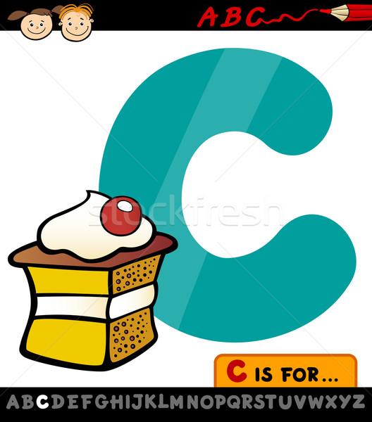 letter c with cake cartoon illustration Stock photo © izakowski