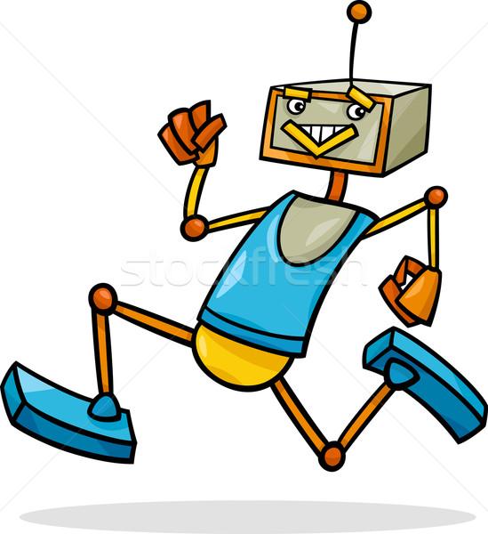 cartoon running robot illustration Stock photo © izakowski