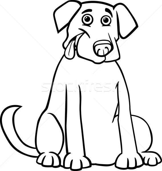 Labrador retriever cartoon kolorowanka czarno białe ilustracja funny Zdjęcia stock © izakowski