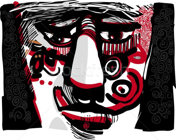 tribal face artistic drawing illustration Stock photo © izakowski