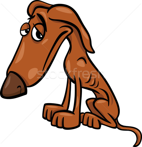 poor hungry dog cartoon illustration Stock photo © izakowski