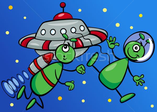 スペース 漫画 実例 2 UFOの ストックフォト © izakowski