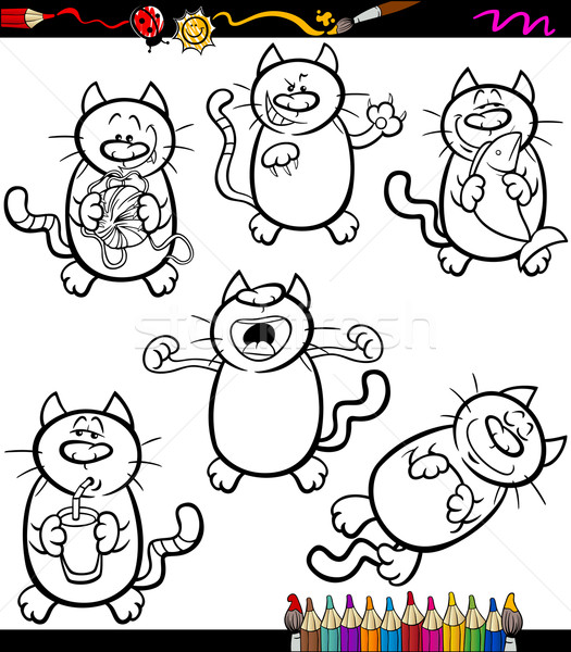 Kediler Ayarlamak Karikatur Boyama Kitabi Sayfa Ornek