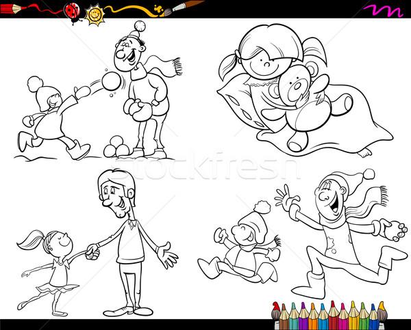 Aile Sayfa Karikatür Ayarlamak Boyama Kitabı