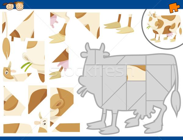 Cartoon mucca compito illustrazione educativo Foto d'archivio © izakowski