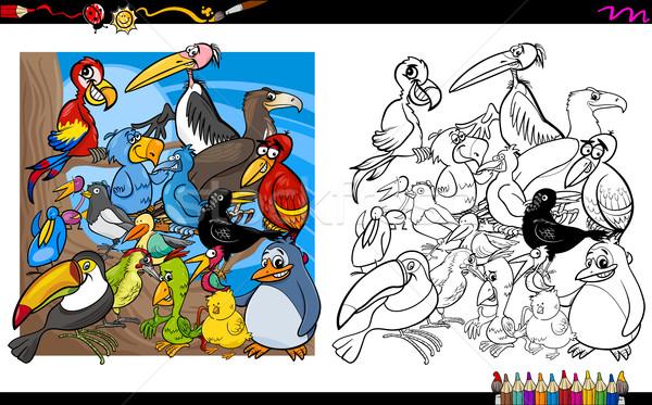 Kuş Boyama Kitabı Siyah Beyaz Karikatür örnek Vektör