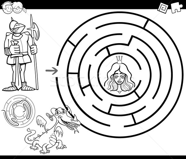 fairy tale maze coloring page Stock photo © izakowski