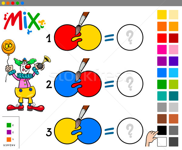 Colori educativo gioco clown cartoon Foto d'archivio © izakowski